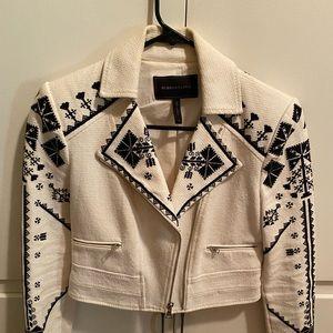 BCBG Off White Embroidered Moto Jacket size XXS